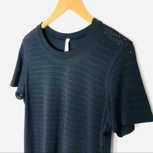 Lululemon Black Crew Neck Mesh T Shirt